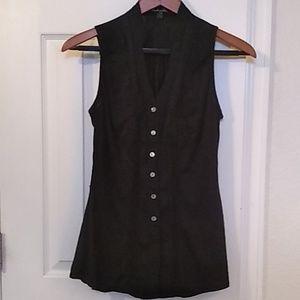Lacey black button down tank top